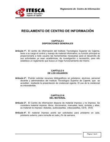 reglamento de centro de información - Instituto Tecnológico ...