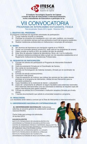 VII Convocatoria del Programa de Intercambio Estudiantil ITESCA ...