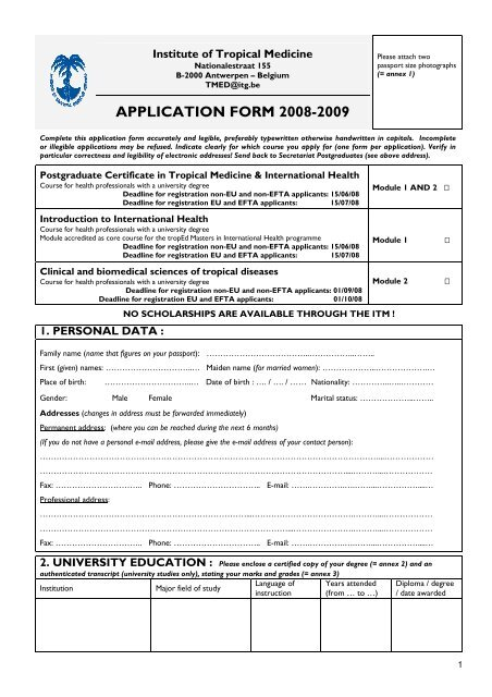 APPLICATION FORM 2008-2009 - Itg