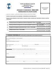 demande d'admission 2008-2009 formations de courte duree - Itg