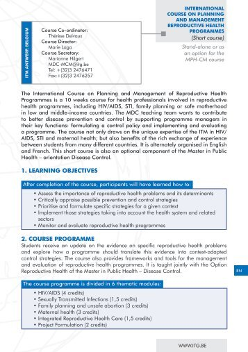 1. LEARNING OBJECTIVES 2. COURSE PROGRAMME - Itg