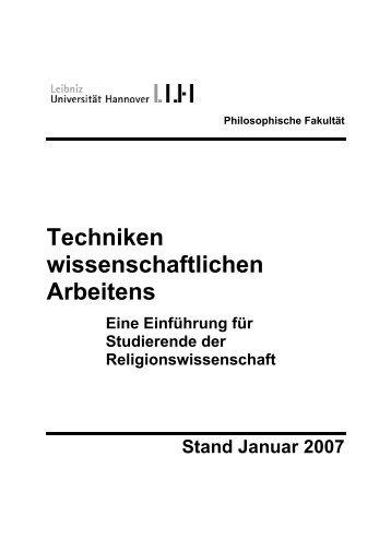 Techniken wissenschaftlichen Arbeitens - Institut für Theologie und ...