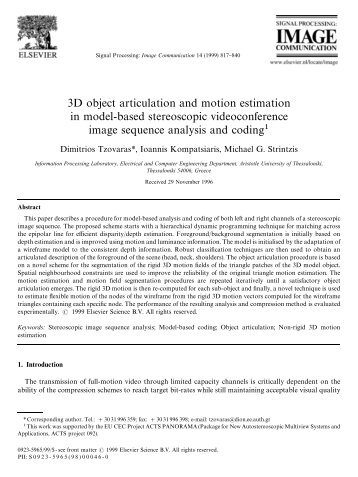 3D object articulation and motion estimation in model-based ...