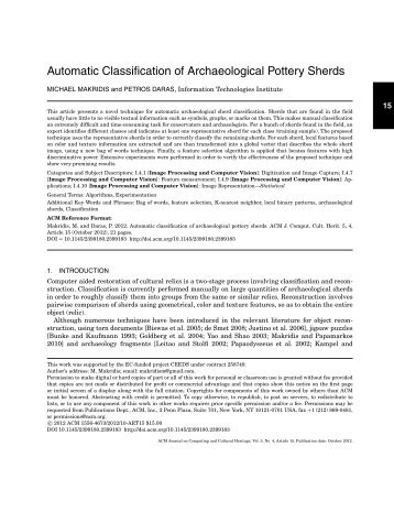 Automatic classification of archaeological pottery sherds