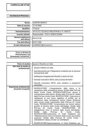 Curriculum D.S. Marco Guspini - ITIS 'Heinrich Hertz'