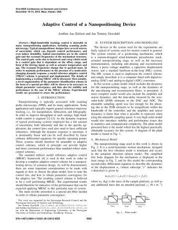 Adaptive Control of a Nanopositioning Device - NTNU