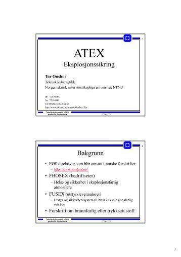 Eksplosjonssikring Bakgrunn - Institutt for teknisk kybernetikk - NTNU