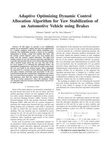 Adaptive Optimizing Dynamic Control Allocation Algorithm for Yaw ...