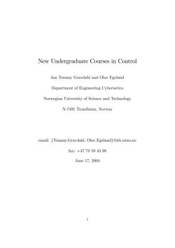 New Undergraduate Courses in Control - NTNU