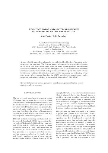 Real-Time Rotor and Stator Resistances Estimation of an Induction ...