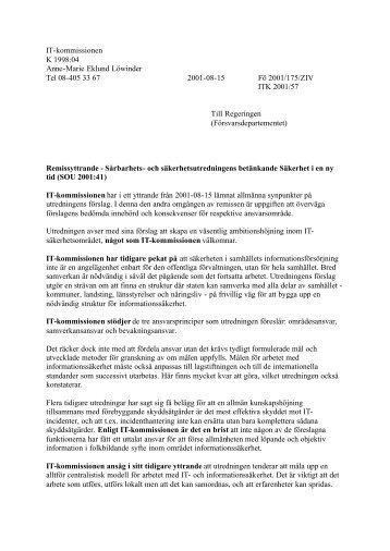 Remissvar - Säkerhet i en tid (SOU 2001_41).pdf - IT-kommissionen