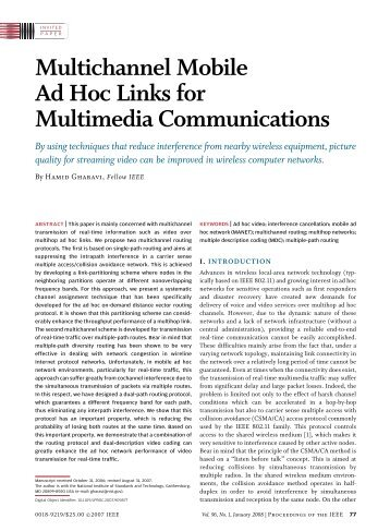 Multichannel Mobile Ad Hoc Links for Multimedia ... - IEEE Xplore