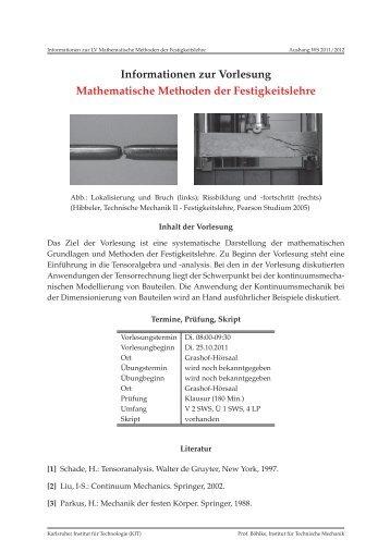 Informationen zur Vorlesung Mathematische Methoden der ...