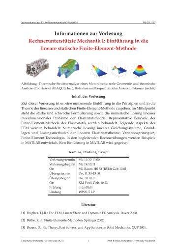 Einführung in die lineare statische Finite-Element-Methode