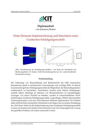 Diplomarbeit Finite Elemente Implementierung und Simulation eines ...