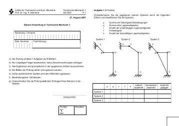Pr fung im fach technische mechanik for Statik formelsammlung