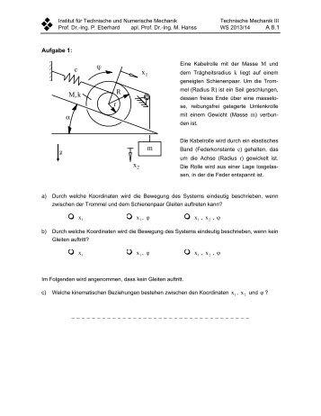 Arbeitsblatt A1 - Institut für Technische und Numerische Mechanik