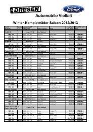 Winter-Kompletträder Saison 2012/2013