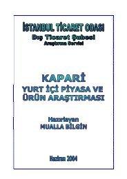 Kapari Yurt İçi Piyasa ve Ürün Araştırması 2004 - ITO