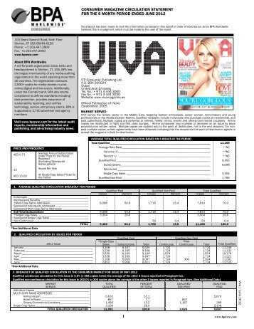 consumer magazine circulation statement for the 6 month ... - ITP.com