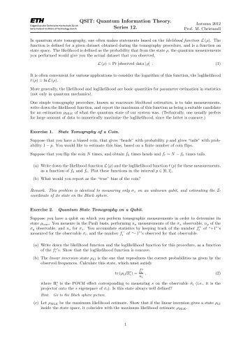 QSIT: Quantum Information Theory. Series 12.