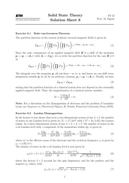 Solid State Theory Solution Sheet 8 Institute For