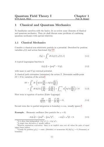 Chapter 1: Classical and Quantum Mechanics (PDF, 272 kB)