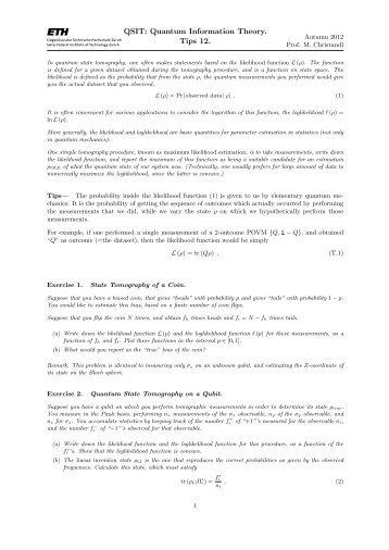 QSIT: Quantum Information Theory. Tips 12.