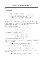 General relativity, solution sheet 2.