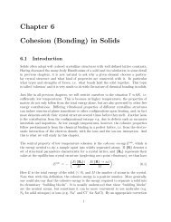 Chapter 6 Cohesion (Bonding) in Solids