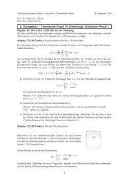 8. Übungsblatt – Theoretische Physik VI (Vertiefung): Statistische ...