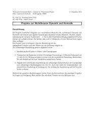 Projekte zur Nichtlinearen Dynamik und Kontrolle - Institut für ...