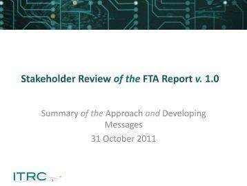 FTA Stakeholder review panel workshop presentation - ITRC