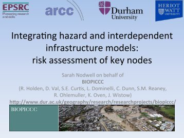Integrating hazard and interdependent infrastructure models - ITRC