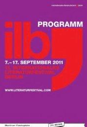 Programm internationales literaturfestival berlin ... - Berliner Festspiele