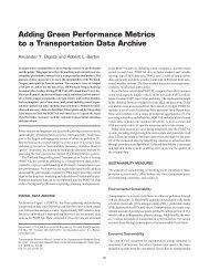 Adding Green Performance Metrics to a Transportation Data Archive