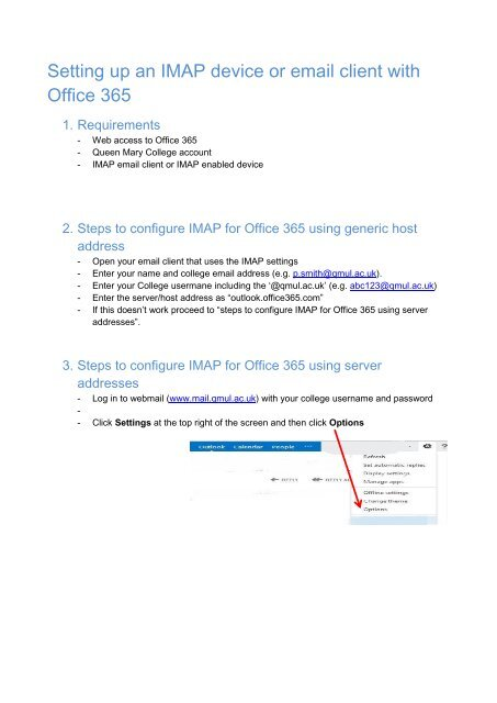 Setting Up An Imap Device Or Email Client With Office 365
