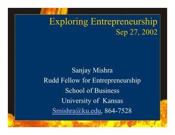 Exploring Entrepreneurship - University of Kansas