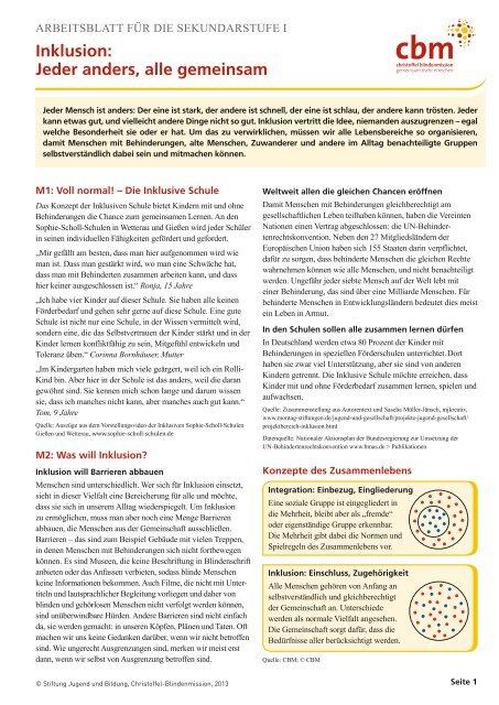 Arbeitsblatt Fã¼r Die Sekundarstufe Eins Inklusion Jugend