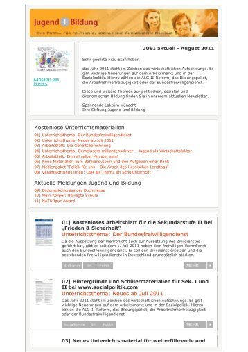 Kostenlose Unterrichtsmaterialien Aktuelle Meldungen Jugend und ...