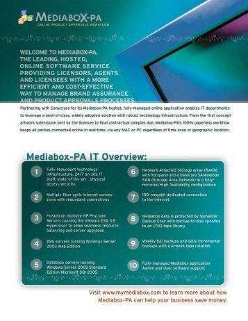 1 6 2 7 3 8 4 9 5 10 WELCOME TO MEDIABOX-PA, THE LEADING