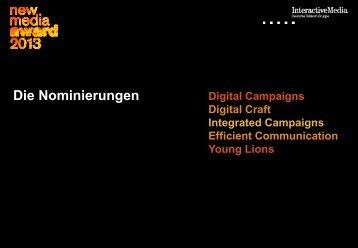 Die Nominierten - New Media Award 2013