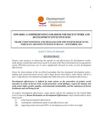 towards a comprehensive paradigm for decent work and ... - ITUC