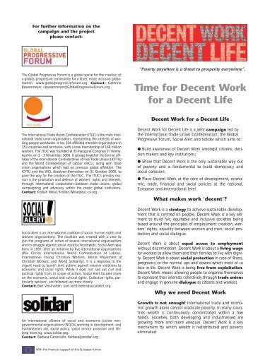 Time for Decent Work for a Decent Life - ITUC