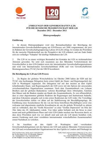 ANREGUNGEN DER GEWERKSCHAFTEN (L20) - International ...