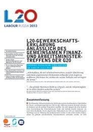 L20-GEWERKSCHAFTS- ERKLÄRUNG ANLÄSSLICH DES ... - G20
