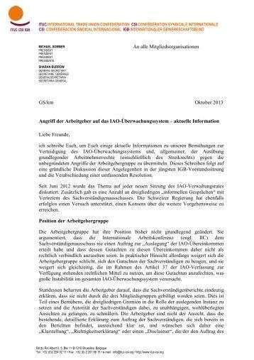 Link zu dem Brief - International Trade Union Confederation
