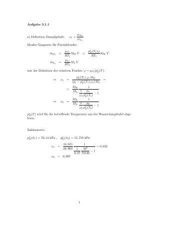 Aufgabe 3.1.1 a) Definition Dampfgehalt: ˙mD1 ˙mL1 Ideales ...