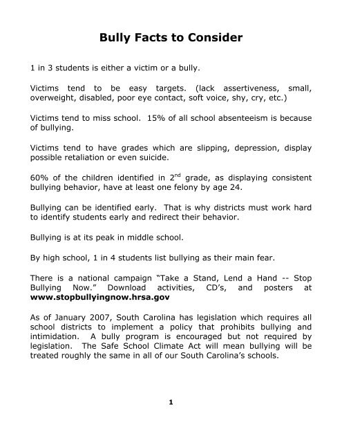 Bully Facts to Consider 1