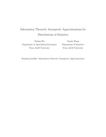 Information Theoretic Asymptotic Approximations for Distributions of ...